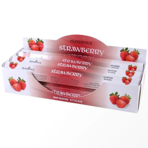 Strawberry Scented Incense Sticks Elements Indian - Tube Of 20